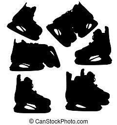 ホッケー, 専門家, 一時的流行, ベクトル, 人, silhouette., illustration.