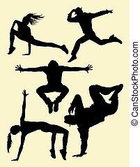 ホツプ, シルエット, 通り, 現代, dance., ダンス, ヒップ