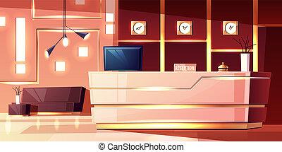 ホテルのロビー, ベクトル, レセプション。, inn., 漫画