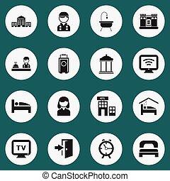 ホテル, ありなさい, セット, モビール, icons., 缶, ホテル, editable, 使われた, 含む, シンボル, tv, 16, infographic, ui, 網, 女性, そのような物, 無線, more., design.