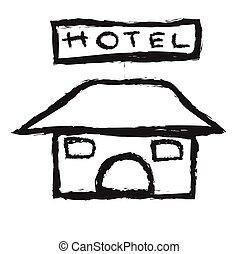 ホテル, いたずら書き, ベクトル, アイコン