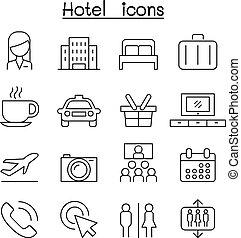 ホテル, アイコン, セット, 中に, 薄いライン, スタイル
