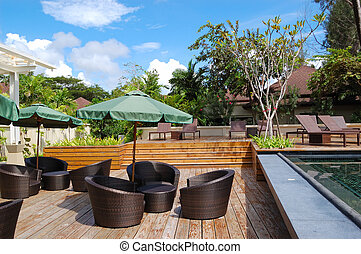 ホテル, アウトドアのレストラン, 贅沢, タイ, phuket