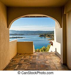 ホテル, アパート, halkidiki, 贅沢, 海, ギリシャ, 光景