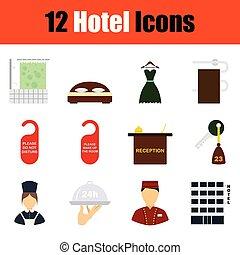 ホテル, セット, アイコン