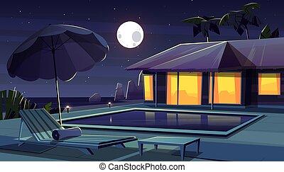 ホテル, トロピカル, リゾート, ベクトル, 漫画, night.