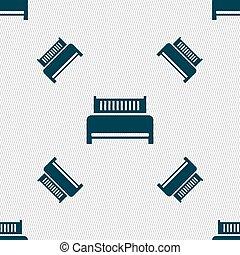 ホテル, パターン, 印。, seamless, ベッド, ベクトル, 幾何学的, texture., アイコン