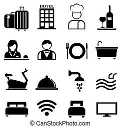 ホテル, リゾート, セット, アイコン, 厚遇