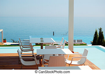 ホテル, レストラン, 現代, pieria, 贅沢, 海, ギリシャ, 光景