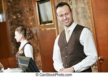 ホテル, 労働者, レセプション