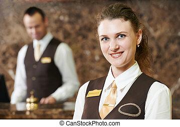ホテル, 労働者, 上に, レセプション