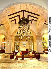 ホテル, 大きい, シャンデリア, 贅沢, 夜, 明り, ロビー