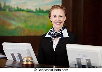ホテル, 女, 受付係, 仕事, 幸せ