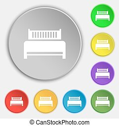 ホテル, 平ら, buttons., 印。, ベッド, シンボル, ベクトル, 8, アイコン