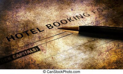 ホテル, 概念, グランジ, 予約, 形態