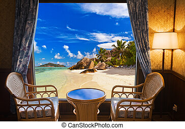 ホテル, 浜, 部屋, 風景