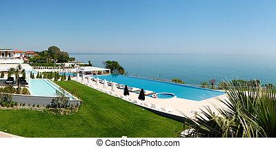 ホテル, 無限点, パノラマ, 現代, pieria, 贅沢, ギリシャ, 浜, プール, 水泳