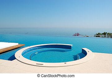 ホテル, 無限点, 現代, pieria, jacuzzi, 贅沢, ギリシャ, 浜, プール, 水泳