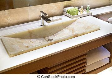ホテル, 現代, 大理石, handbasin