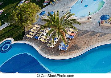ホテル, 現代, 贅沢, プール, 水泳