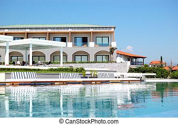 ホテル, 現代, pieria, jacuzzi, 贅沢, ギリシャ, 浜, プール, 水泳
