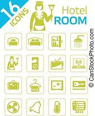 ホテル, -, 部屋, アイコン