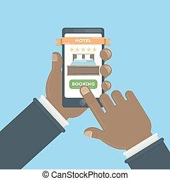 ホテル, booking., オンラインで