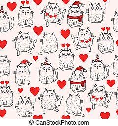 ホリデー, モデル, birthday, santa, 休日, バレンタイン, ダンス, vector., クリスマス, 心, patterns., 帽子, スカーフ, ネコ, seamless, ライト, 女の子, balloon, バックグラウンド。