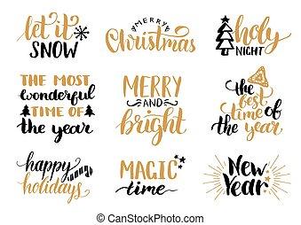 ホリデー, レタリング, 幸せ, 新しい, とても, decorations., セット, クリスマス, ベクトル, 手書き, fest, 西洋ヒイラギ, 年, ∥など∥, カリグラフィー