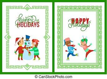 ホリデー, 陽気, ポスター, 枠にはめられた, クリスマス, 幸せ