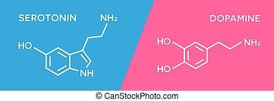 ホルモン, 人間, 化学物質, dopamine, serotonin, 体, ホルモン, 分子, formula.,...