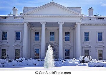ホワイトハウス, 噴水, 雪, ペンシルバニア, ave, washington d.c.