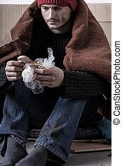 ホームレスである, 悲しい, 寒い, 人, 食べること, bread