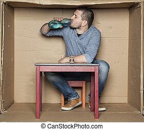 ホームレスである, 飲むこと, アルコール, びん, 人