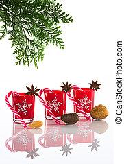 ホールダー, 茎, クリスマス, 旗, 雪片, アニス, スペース, 隔離された, 蝋燭, 砂糖, 星, 水晶, 背景, 背景, 反射, ろうそく, 白, コピー, perspex, クリスマス, 赤