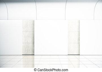 ホール, 広場, render, 壁, の上, コンクリート, 空, ブランク, ポスター, mock, 3d