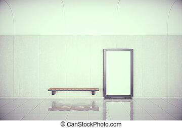 ホール, render, 壁, ポスター, の上, ベンチ, 木製である, 空, ブランク, mock, 3d