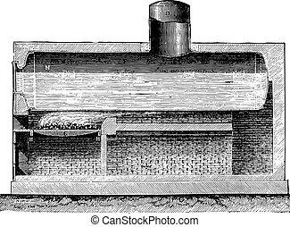 ボイラー, engraving., 型, 円筒状である