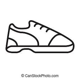 ボウリング, アウトライン, 靴, footwear., sign.sport, icon.