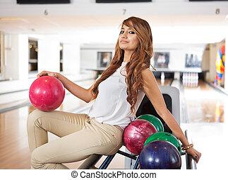 ボウリング, 女, 棚, ボール, モデル
