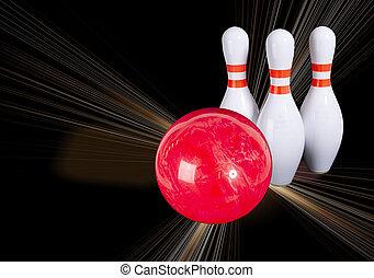 ボウリング, 美しい, ボール, ピン, bowling., 背景