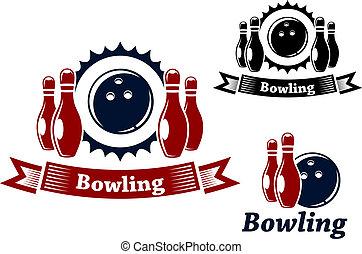 ボウリング, ninepins, ボール, 紋章