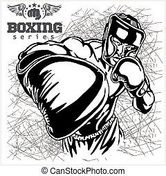 ボクシングの試合, -, レトロ, イラスト, 上に, グランジ, 背景
