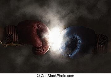 ボクシング, キャンペーン, 共和党員, 手袋, 民主主義者, symbolized