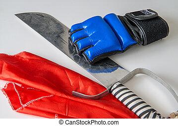 ボクシング, kungfu, サーベル, 手袋