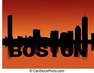 ボストン, スカイライン, 日没, 反映された