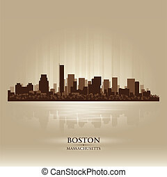 ボストン, マサチューセッツ, スカイライン, 都市, シルエット