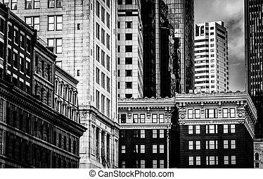 ボストン, massachusetts., ダウンタウンに, 建物, 群がりなさい