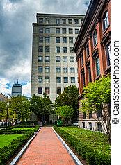 ボストン, massachusetts., ダウンタウンに, 通り道, 庭