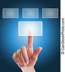 ボタンの押すこと, 手, 感触, 女性, インターフェイス, スクリーン